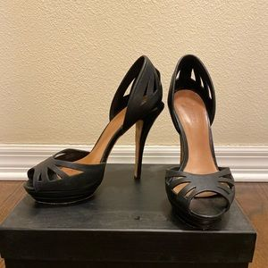 LAMB Black Leather Laser Cutout D'orsay Heels 8.5